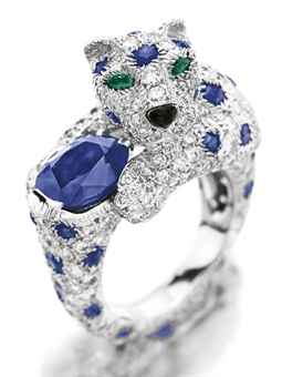 a_diamond_sapphire_and_emerald_panther_ring_by_cartier1 69 Dress Jewelry Pieces in the Shape of Your Favorite Animal
