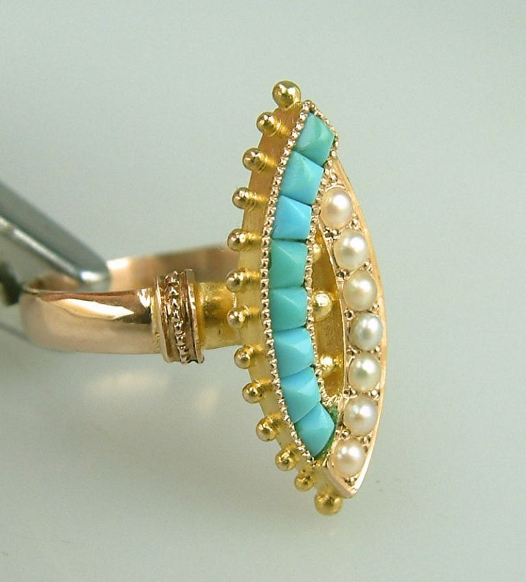 antique-victorian-persian-turquoise-pearl-ring-vintage-estate-jewelry-800x884 25 Victorian Jewelry Designs Reflect Wealth & Beauty