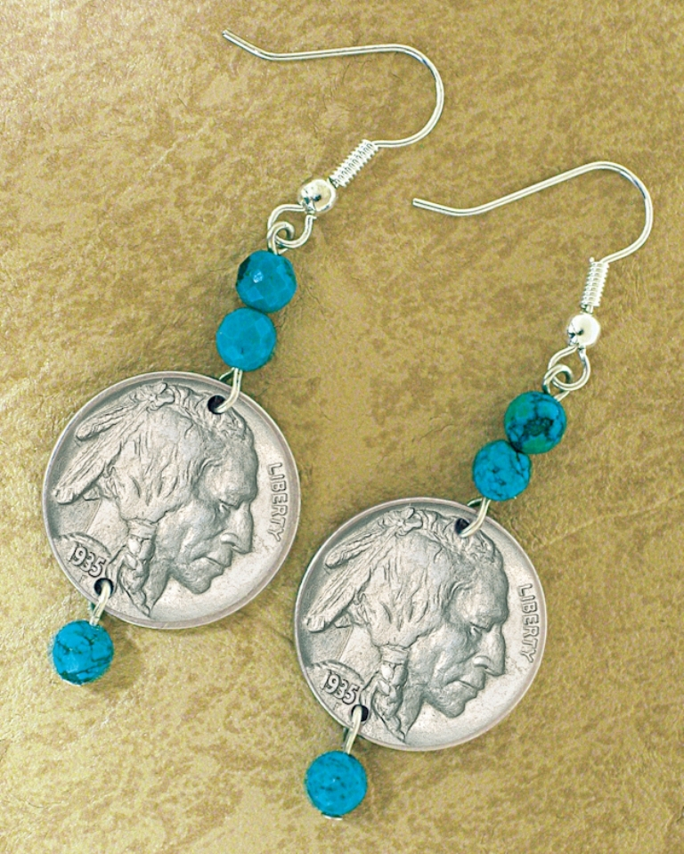 buffalo-nickel-turquoise-coin-earrings-coin-jewelry 25 Unique & Fashionable Coin Jewelry Pieces