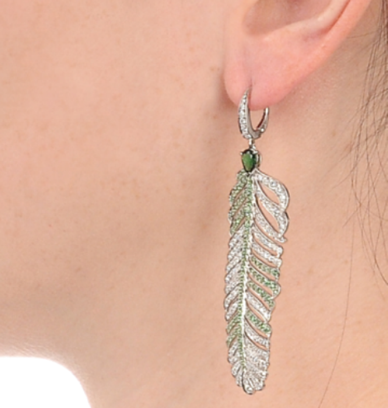 crowns-nest_tsavorite-dream-feather-earring_model Tsavorite as a Strong Competitor to Emerald