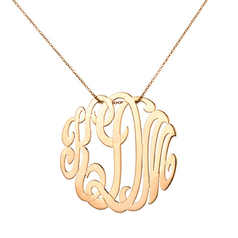 ginette-ny-charm-chain-necklaces-medium-lace-monogram-necklace-Rose-gold Express Your Love by Presenting Monogram Jewelry