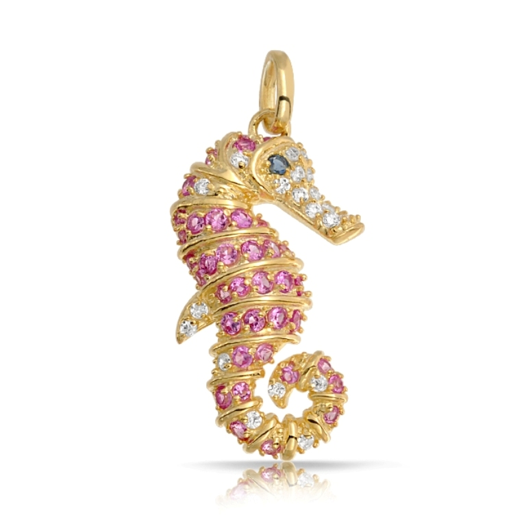 gold-pendant-seahorse-cubic-zirconia_shn-kp2491 Pink Topaz Jewelry as a Romantic Gift
