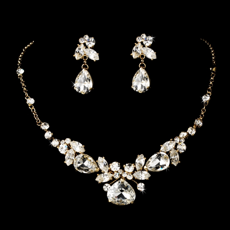gold_crystal_bridal_jewelry_set_wf8314 How to Choose the Right Wedding Jewelry for Your Bridesmaids
