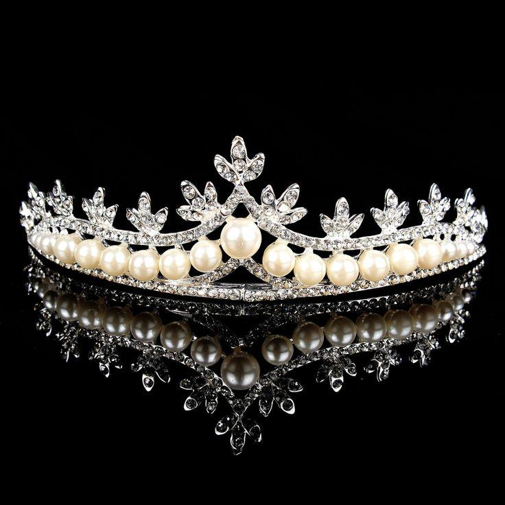 graceful-pearl-and-rhinestone-wedding-crown-maple-leaf-inspired-bridal-tiara Be Like a Queen with Your Crown [79 Newest Trends...]