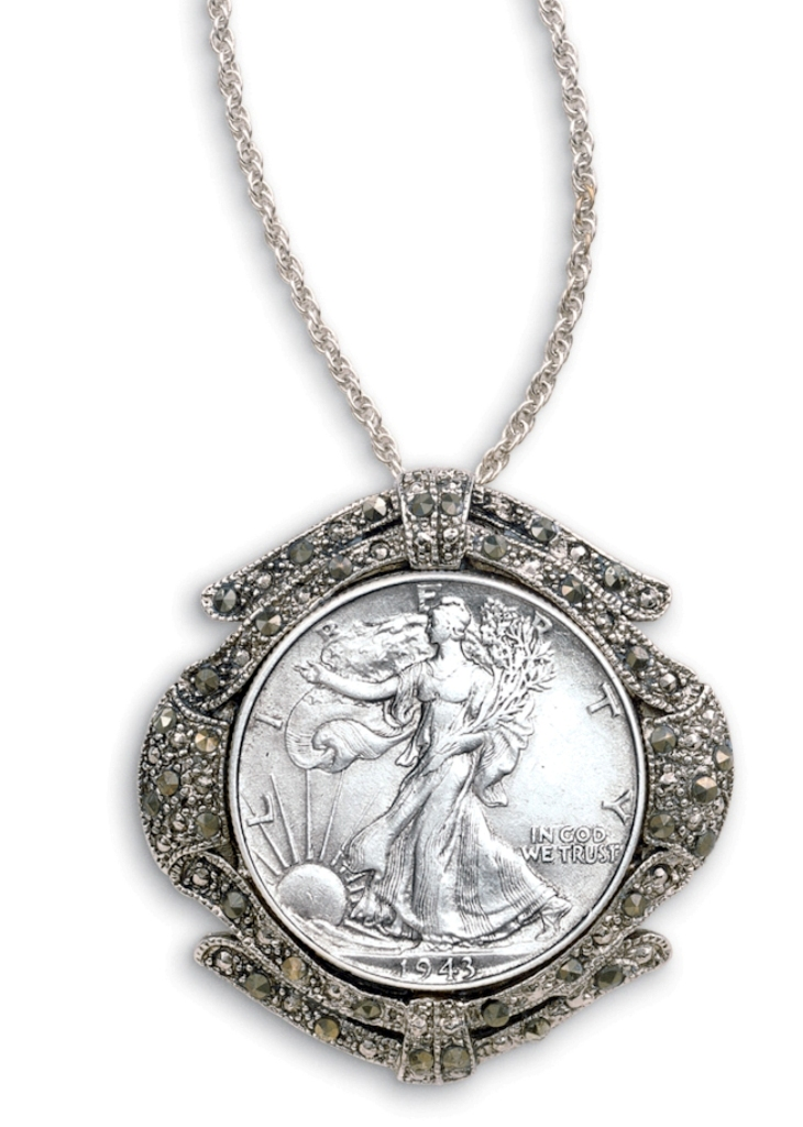 half-dollar-marcasite-coin-pin-pendant-coin-jewelry 25 Unique & Fashionable Coin Jewelry Pieces