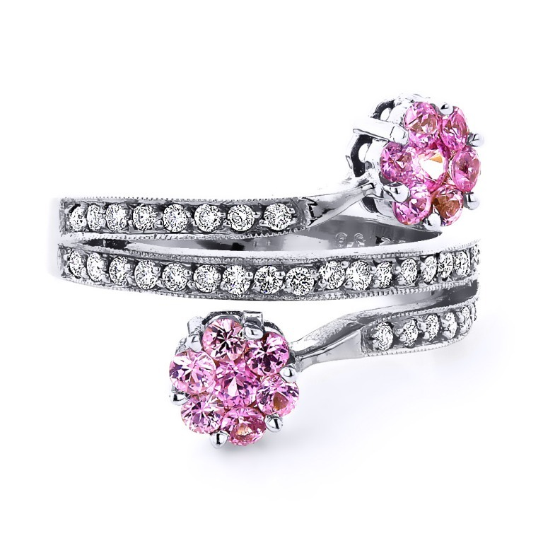 ladies-diamond-right-hand-rings-14k-gold-pink-topaz-flower-ring_1 Pink Topaz Jewelry as a Romantic Gift