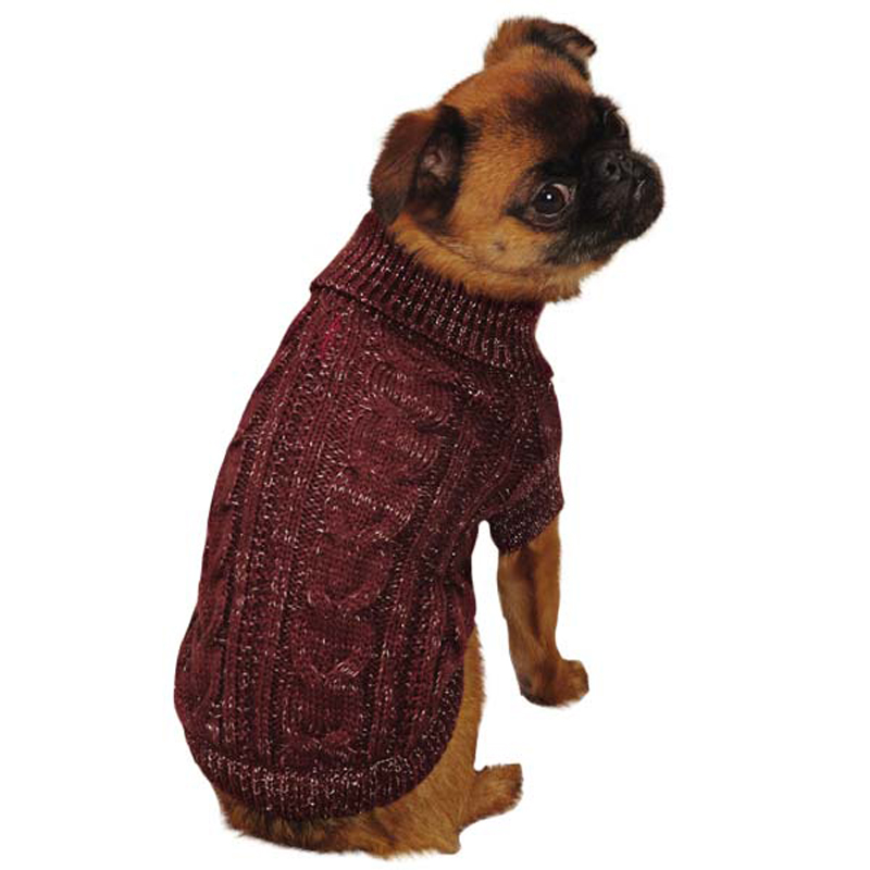 lurex-cable-knit-dog-sweater-cabernet-1 Top 35 Winter Clothes for Dogs