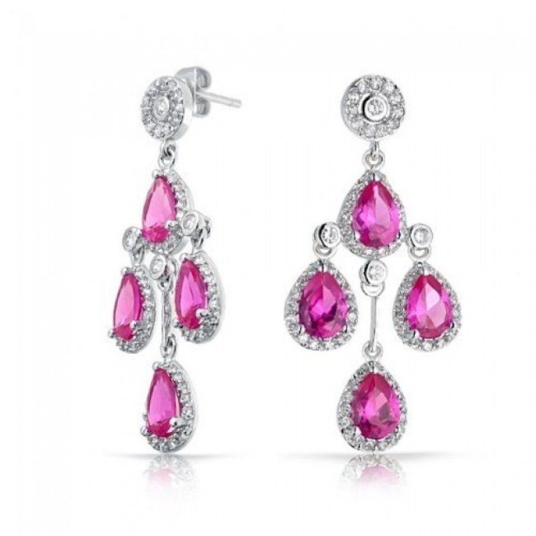 pink-topaz-color-crown-teardrop-chandelier-earrings-cubic-zirconia Pink Topaz Jewelry as a Romantic Gift