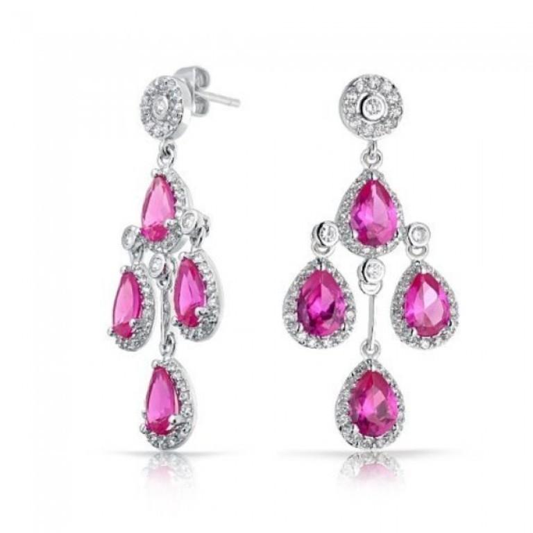 pink-topaz-color-crown-teardrop-chandelier-earrings-cubic-zirconia Pink Topaz Jewelry as a Romantic Gift