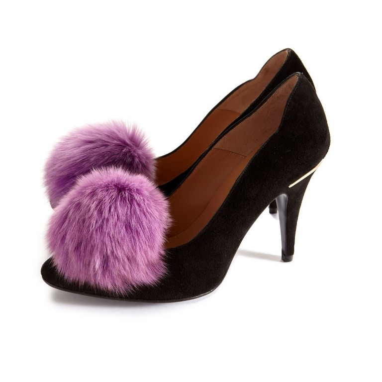 purple_fox_pom_poms_on_shoe_clips_cleo_b_web 27 Ideas Bring a New Life to Your Shoes by Adding Shoe Clips & Charms