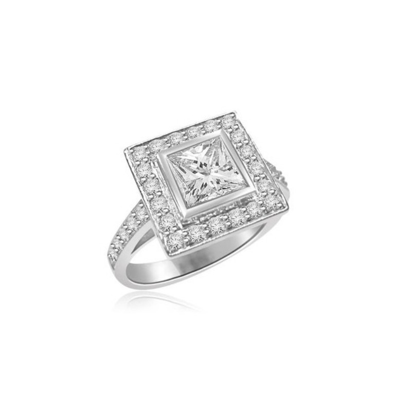 r265-diamond-cluster-ring Cluster Engagement Rings for Those who Are on a Budget