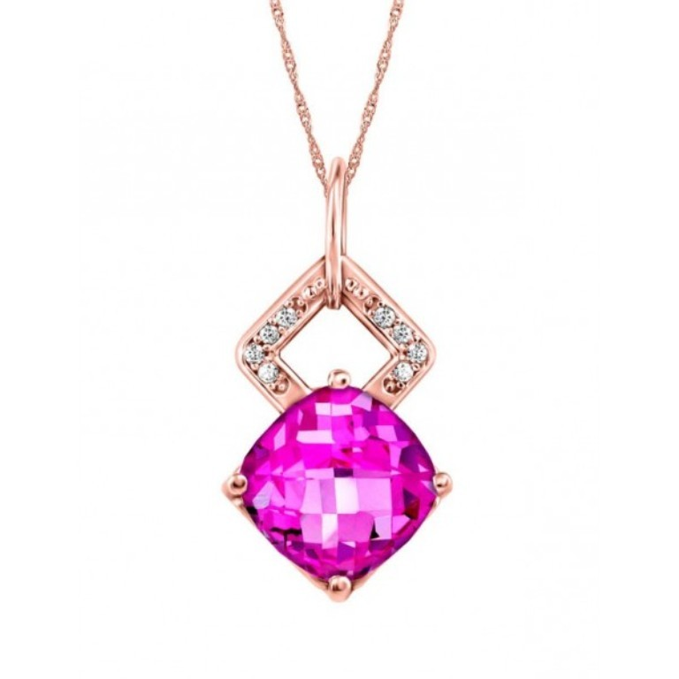 rose-gold-diamond-pink-topaz-pendant-pen-gem-1619 Pink Topaz Jewelry as a Romantic Gift
