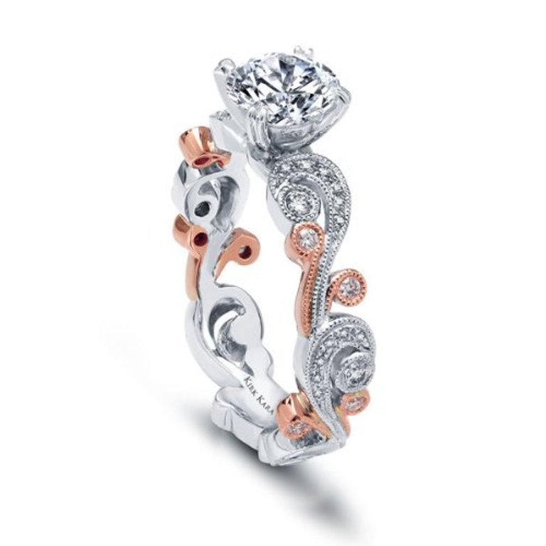 rose-gold-wedding-band-white-gold-engagement-ring-7 Easy Tricks to Make Your Diamond Look Larger