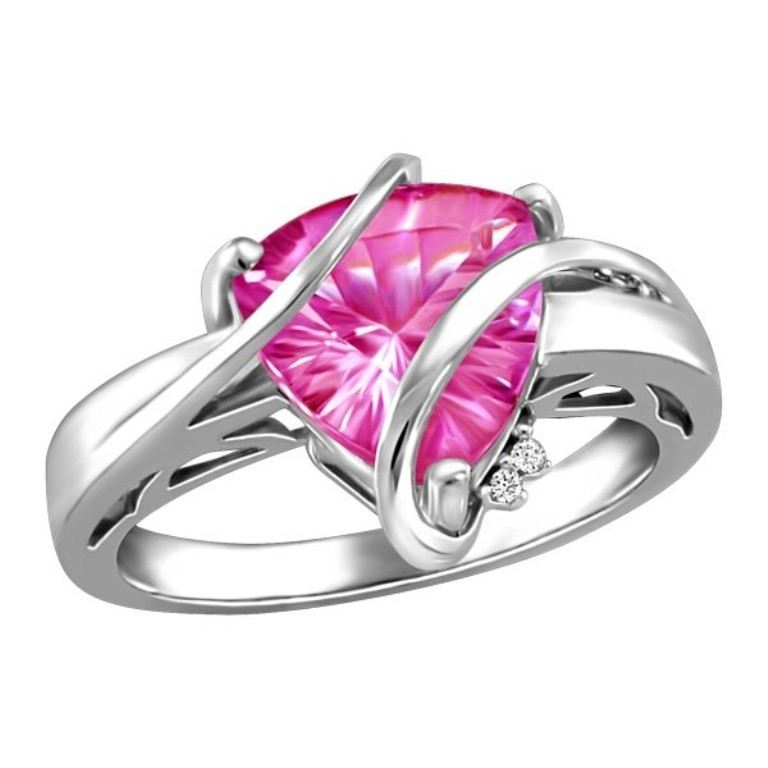 silver-diamond-and-pink-topaz-ring-rin-sil-0323 Pink Topaz Jewelry as a Romantic Gift