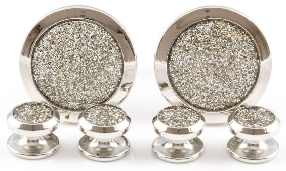 silver-diamond-dust-tuxedo-cufflinks-and-studs-22 Cufflinks: The Most Favorite Men Jewelry