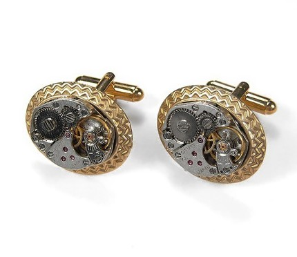 steampunk_mens_cufflinks_-_vintage_ruby_jeweled_watch_cufflinks_gold_aztec_pattern_setting_-_stunning_steampunk_jewelry_by_edmdesigns_818d00f4 Cufflinks: The Most Favorite Men Jewelry