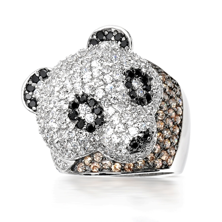 sterling-silver-ring-panda-5817 Chocolate Diamond Rings for a Fascinating & Unique Look