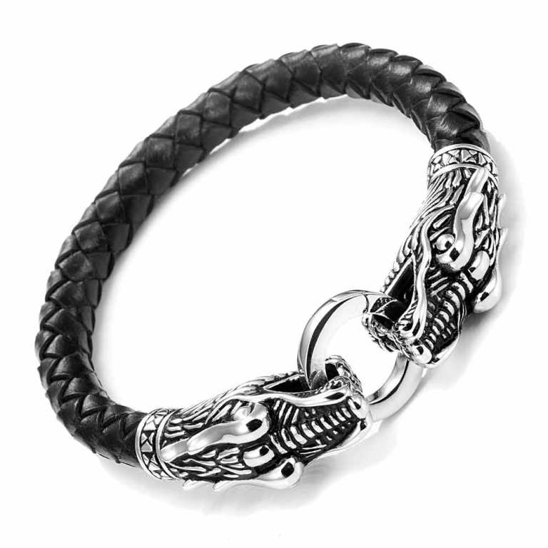 urban_jewelry_leather_mens_bracelet_8_12_inches_with_locking_stainless_steel_dragon_head_clasp_black_silver Top 25 Breathtaking & Stylish Leather Jewelry Pieces
