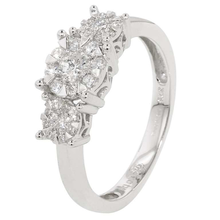 white-gold-brilliant-cluster-diamond-trilogy-ring Cluster Engagement Rings for Those who Are on a Budget