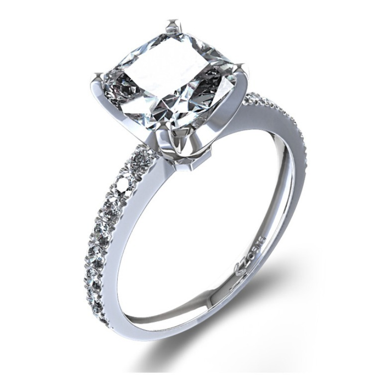 1220971_cushion_cut_diamond_engagement_ring_angle Cushion Cut Engagement Rings for Beautifying Her Finger