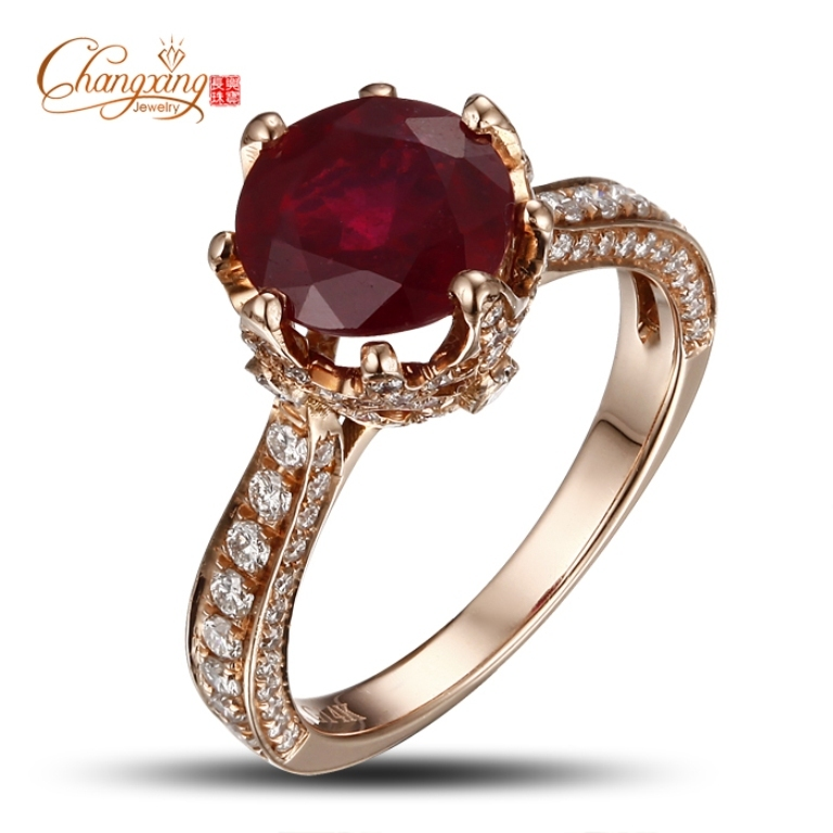 14K-Rose-Gold-Blood-Red-Round-Ruby-Natural-Diamond-Engagement-Ring-Fine-Jewelry How to Find Pure Ruby