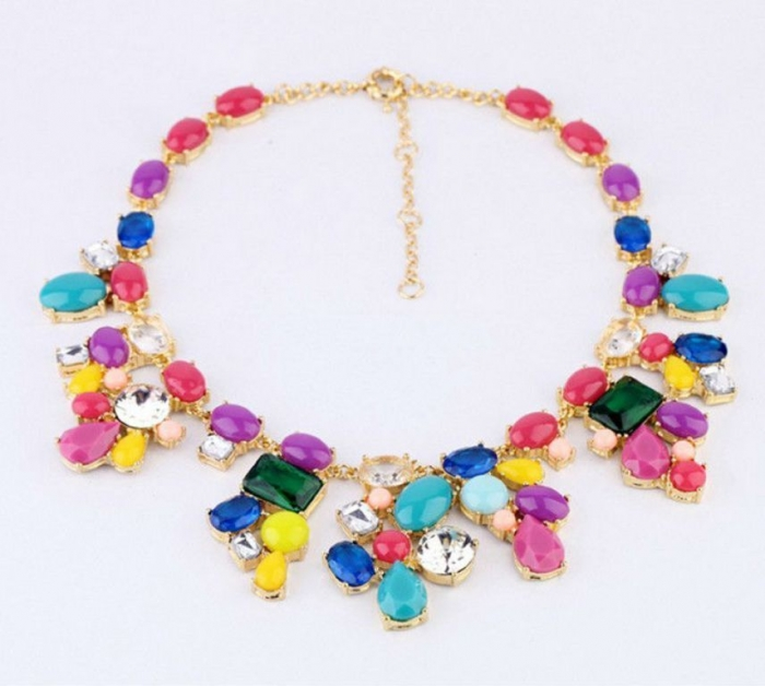 2013-Newest-European-Fashion-Gold-Plated-Luxury-Multicolor-Rainbow-Crystal-Statement-Necklaces-For-Women-Charm-Jewelry 25 Mysterious Rainbow Jewelry Designs