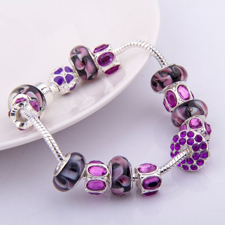 2014-NEW-Arrival-Fashion-European-Style-925-Silver-Charm-Bracelet-with-Purple-Murano-Glass-Beads-DIY Glass Beads for Creating Romantic & Fashionable Jewelry Pieces