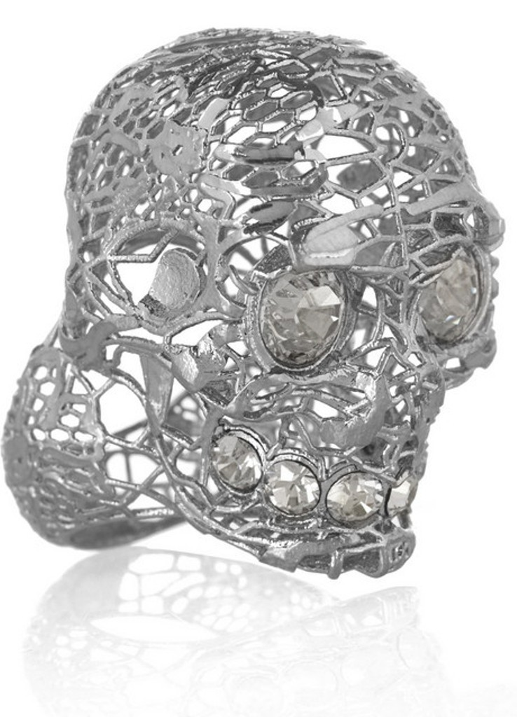 Alexander-McQueen-Silver-plated-Swarovski-crystal-skull-ring-1. Skull Jewelry for Both Men & Women