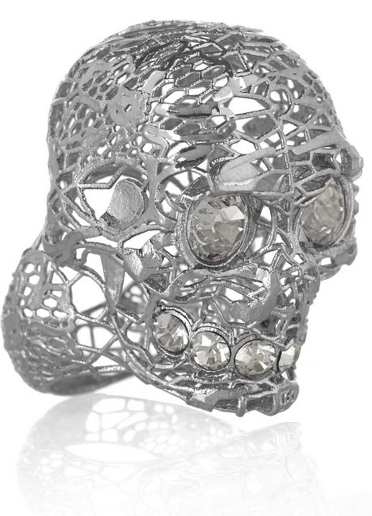 Alexander-McQueen-Silver-plated-Swarovski-crystal-skull-ring-1. Skull Jewelry for Both Men & Women