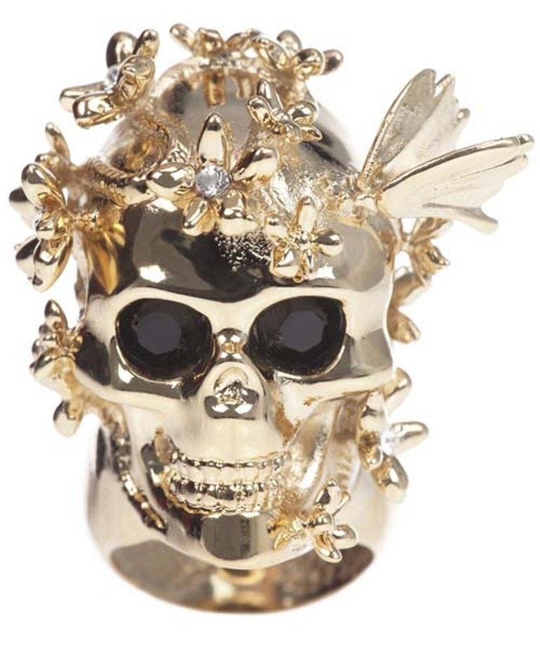 Alexander-McQueen-Skull-and-Cherry-Blossom-ring-Gold Skull Jewelry for Both Men & Women