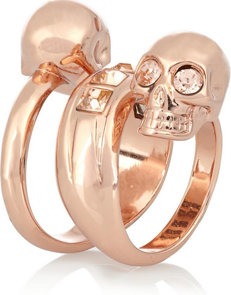Alexander-McQueen-Swarovski-crystal-double-skull-ring-1 Skull Jewelry for Both Men & Women
