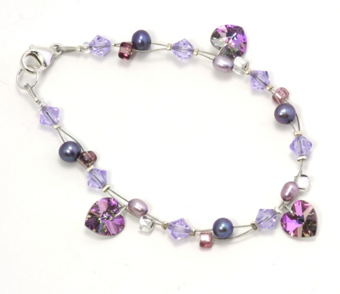 B_LilacVitraiCharmlBracelet_G Glass Beads for Creating Romantic & Fashionable Jewelry Pieces