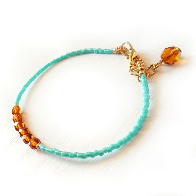 Brown-Beads-and-Turquoise-Delica-Glass-Beads-Bracelet-jewelry Glass Beads for Creating Romantic & Fashionable Jewelry Pieces