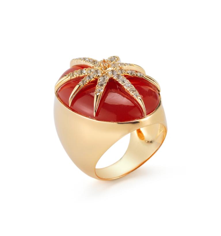 Carnelian-Elizabeth-and-James-Carnelian-Large-Star-Oval-Ring-Gold-Plated-Carnelian-Topaz-designer-jewelry Do You Know Your Zodiac Gemstone?