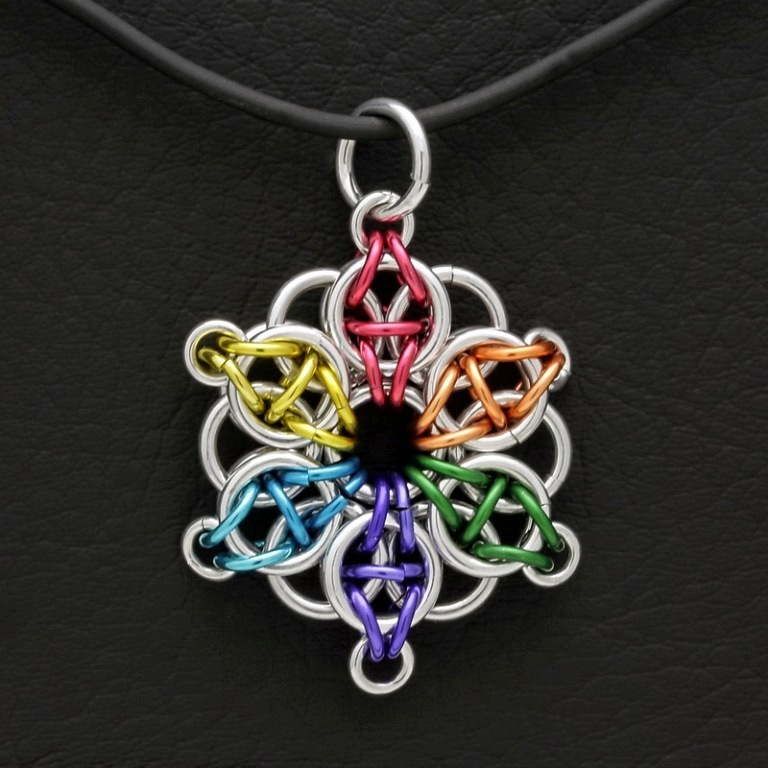 Chain-Maile-Pendant-Celtic-Snowflake-Anodized-Rainbow 25 Mysterious Rainbow Jewelry Designs
