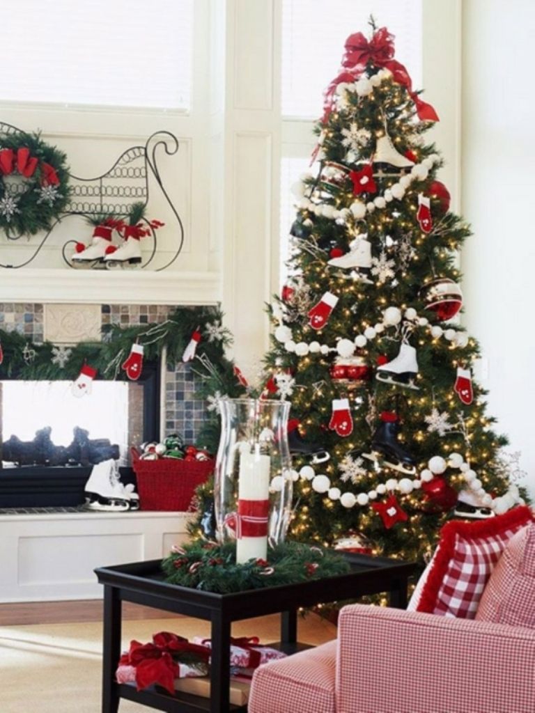 Christmas-tree-decorations-red-white-ornaments-ice-skates 24 Latest & Hottest Christmas Trends for 2019