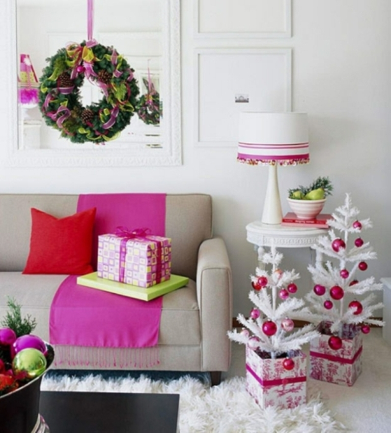 Christmas-tree-decorations-white-small-trees-living-room 24 Latest & Hottest Christmas Trends for 2019