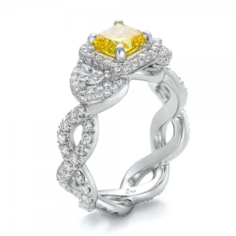 Custom-Yellow-Diamond-and-Diamond-Halo-Engagement-Ring-3Qtr-100633 The Rarest Yellow Diamonds & Their Breathtaking Beauty