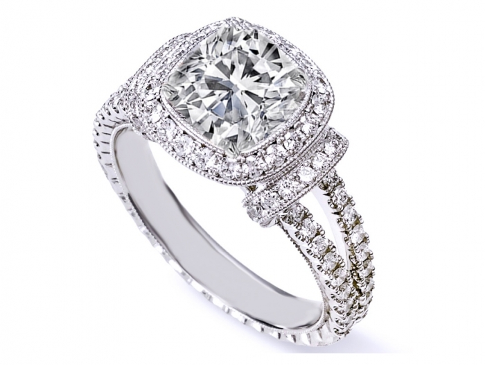 ES1174-1 Cushion Cut Engagement Rings for Beautifying Her Finger