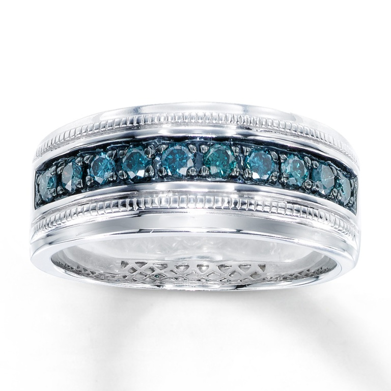 Email-Mens-Blue-Diamond-Ring-ct-tw-Round-cut-Sterling-Silver Men's Diamond Rings for More Luxury & Elegance