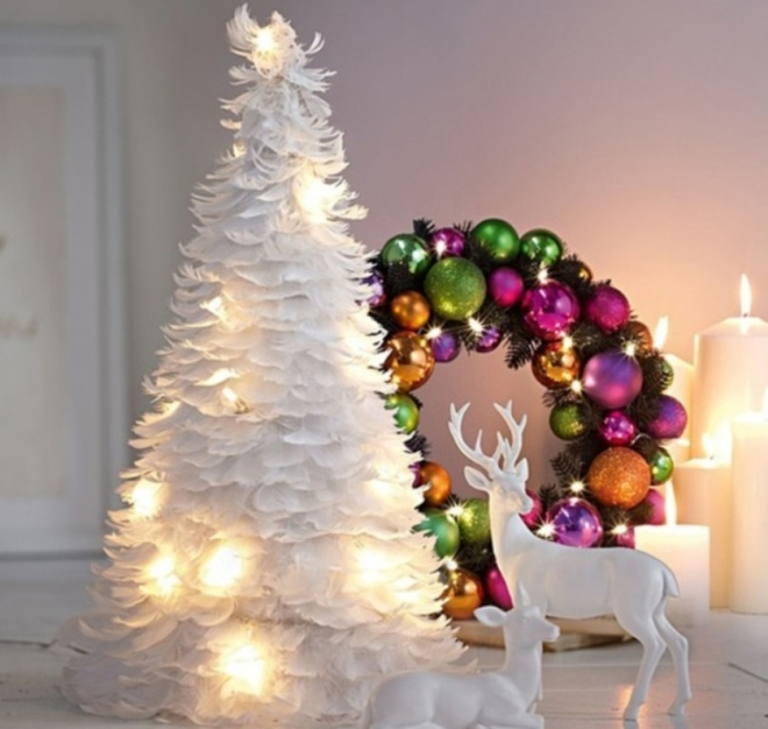 Fanciful-White-Feathers-Christmas-Tree-3 24 Latest & Hottest Christmas Trends for 2019