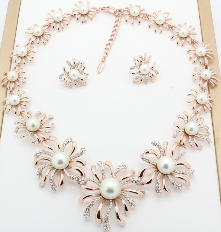 Fashion-Jewelry-All-Pink-Flower-Glass-Stone-Earring-Necklace-Fashion-Jewelry-SFSO0023A- Get a Royal & Fashionable Look with Costume Jewelry