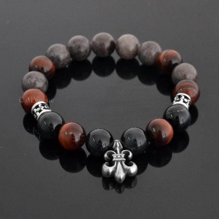 Gemstones-beaded-bracelets-Gems-INS-TIGR-Blue-Red-Tiger-eye-Gray-Fossil-925-Insignia-sterling-silver-bracelet-DE Tiger Eye Jewelry & Its Unusual Properties