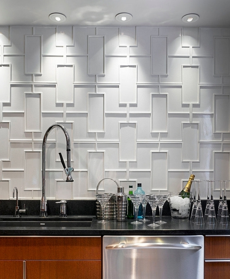 Geometric-backsplash-of-modern-kitchen Forecasting--> 25+ Hottest Trends in Home Decoration 2020