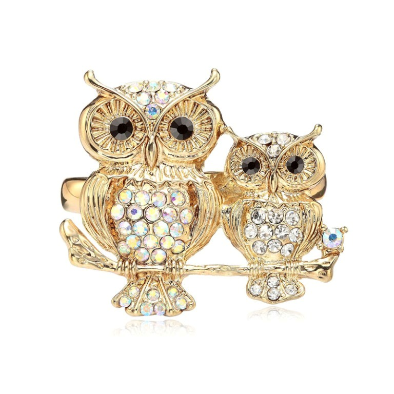 Gold-Rhinestone-Owl-Double-Finger-Ring-Stretchy-White__66661_zoom1 Double Finger Rings for Elegant Hands