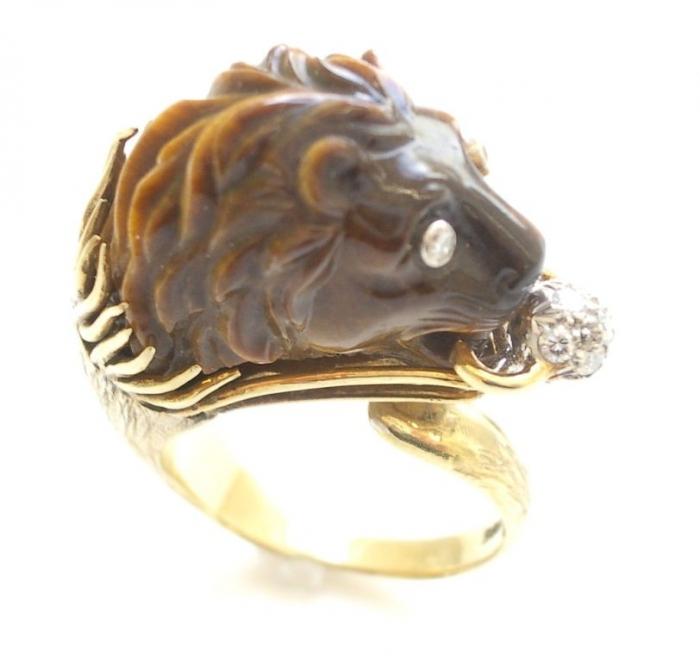 Gold-Tigers-Eye-and-Diamond-Ring-c1960-3 Tiger Eye Jewelry & Its Unusual Properties