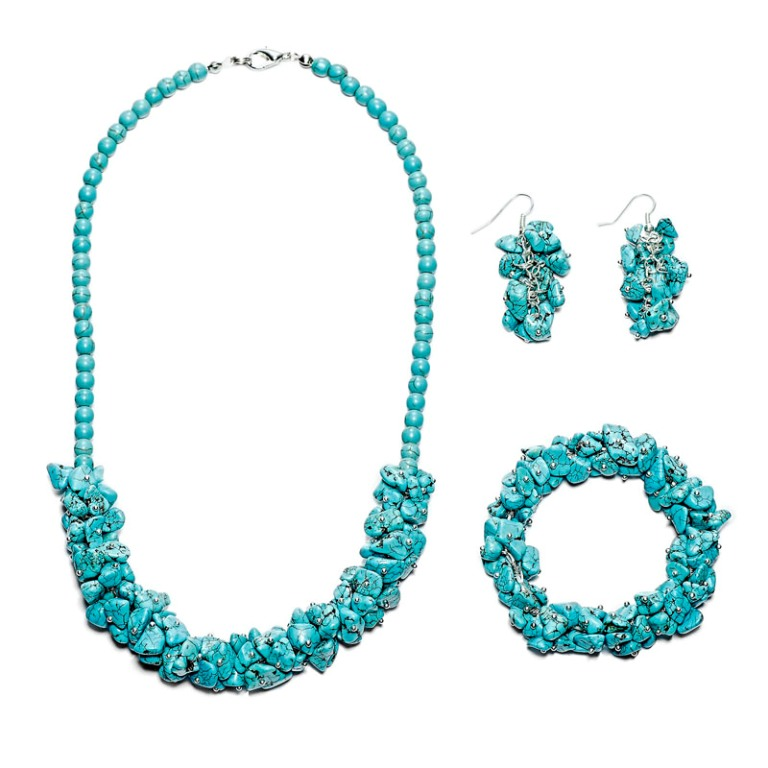 """Handmade-Turquoise-Chip-Bracelet-Necklace-Earrings-Set__45247_zoom Turquoise jewelry """" The Stone of the Sky & Earth"""""""