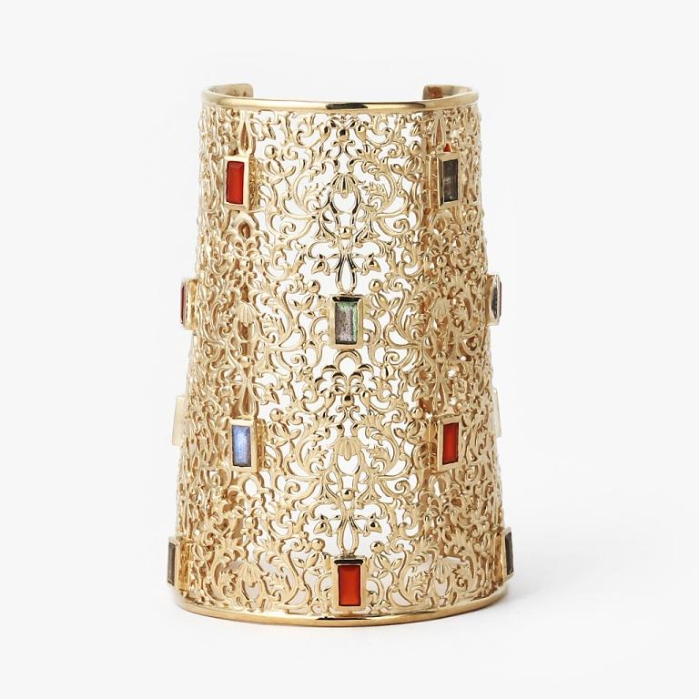 Labradorite_Carnelian_Jaali_Filigree_Statement_Cuff_by_ISHARYA_Jewelry_C1189_02_214b__55769.1405430315.1280.1280 Do You Know Your Zodiac Gemstone?