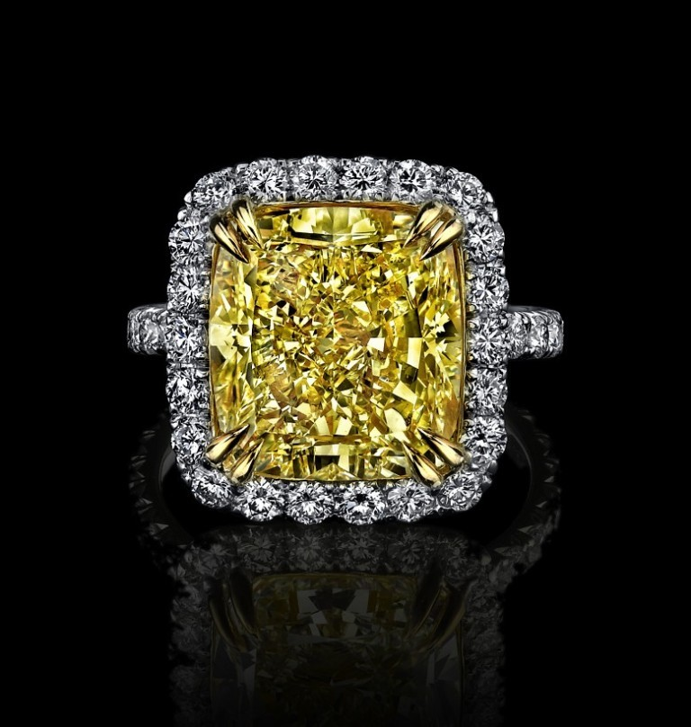 Ladies-Cushion-Cut-Natural-Fancy-Light-Yellow-Halo-Diamond-Engagement-Ring-In-18k-White-Gold-Or-Platinum-With-18k-Yellow-Gold Cushion Cut Engagement Rings for Beautifying Her Finger