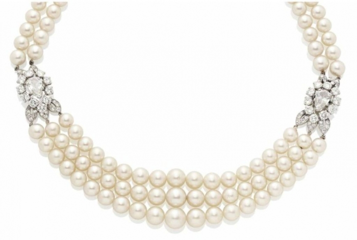 Lot-123-A-PEARL-NECKLACE-WITH-A-DIAMOND-PLATINUM-AND-GOLD-CLASP-MOUNTED-BY-CARTIER Top 7 Types of Necklace Clasps